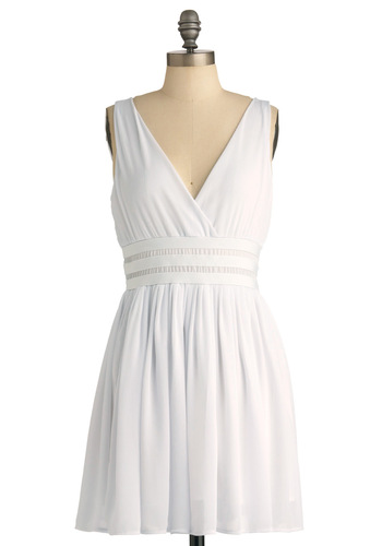 Sweet Sophisticate Dress by BB Dakota - Short, White, Solid, Sleeveless, A-line, Party, Spring