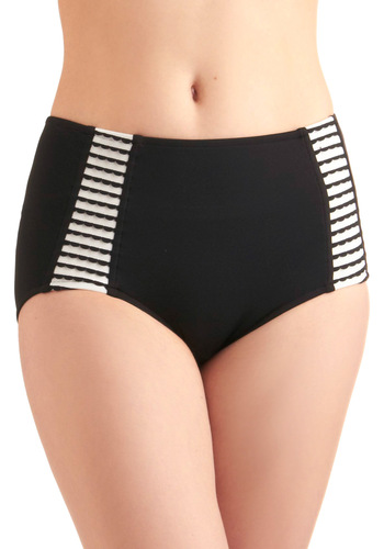 I'll Take the Scallops Swimsuit Bottom - Black, Multi, White, Solid, Stripes, Scallops, Summer, Beach/Resort, International Designer