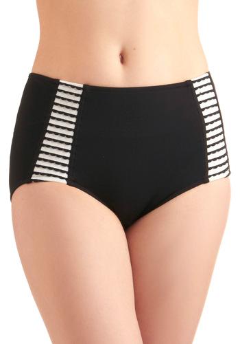 I'll Take the Scallops Swimsuit Bottom - Black, Multi, White, Solid, Stripes, Scallops, Summer, Beach/Resort, International Designer
