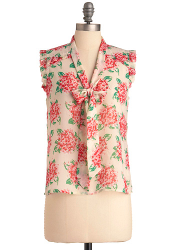 Run and Hydrangea Top - Mid-length, Multi, Green, Pink, Tan / Cream, Floral, Ruffles, Sleeveless, Tie Neck, Sheer, V Neck