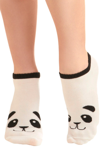 Flash in the Panda Socks - Casual, Kawaii, White, Black, Knitted, Top Rated