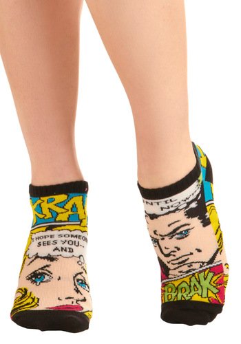 Toe of a Kind Socks in Comic - Casual, Statement, Multi, Novelty Print, Knitted, Top Rated