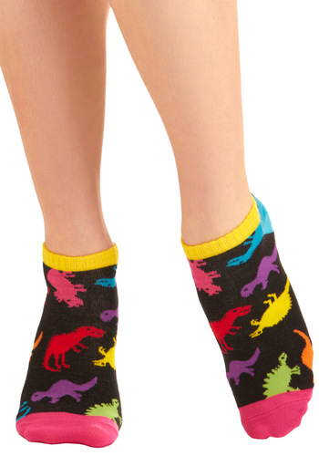 The Rest is Prehistory Socks - Casual, Statement, Multi, Red, Orange, Yellow, Green, Blue, Purple, Pink, Print with Animals, Black, Knitted, Top Rated