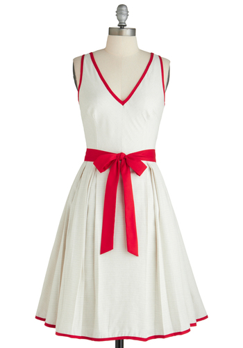 Winsome Style Dress - White, Red, Bows, Casual, Vintage Inspired, A-line, Sleeveless, 50s, Mid-length, Exclusives, Fit & Flare, V Neck, Trim