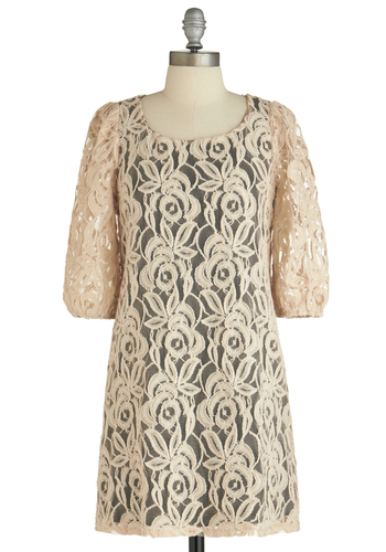 Sample 1592 - Cream, Black, Solid, Lace, Vintage Inspired, 3/4 Sleeve, Mid-length, Sheath / Shift, Party, Lace