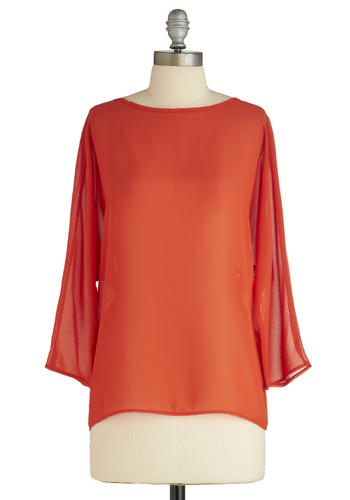 Sample 1593 - Orange, Black, Solid, Bows, Cutout, Casual, Long Sleeve