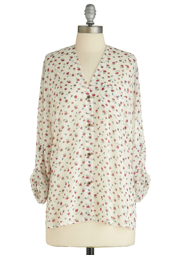 Sample 1599 - White, Multi, Floral, Buttons, Pockets, Casual, Long Sleeve, Long