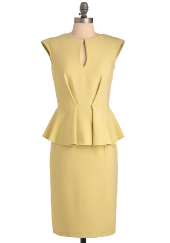 Signature Cocktails Dress - Long, Yellow, Solid, Pleats, Work, Vintage Inspired, 60s, Sheath / Shift, Cap Sleeves, Pinup