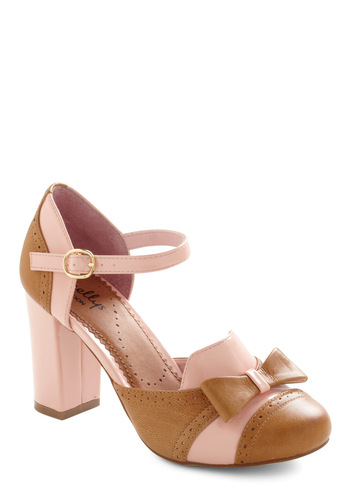 For Your Information Heel in Pink by Shellys of London - Bows, Pink, Brown, Work