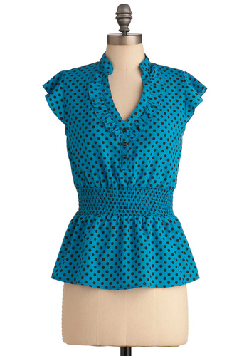 Take On Today Top in Blue - Mid-length, Blue, Black, Polka Dots, Vintage Inspired, Cap Sleeves, Buttons, Ruffles, V Neck, Tis the Season Sale