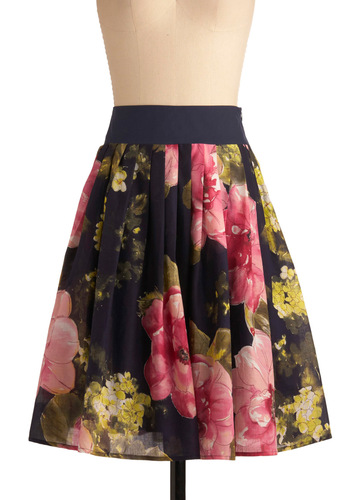 Watercolor Canvas Skirt - Multi, Floral, Work, Blue, Yellow, Green, Pink, Pleats, A-line, Mid-length