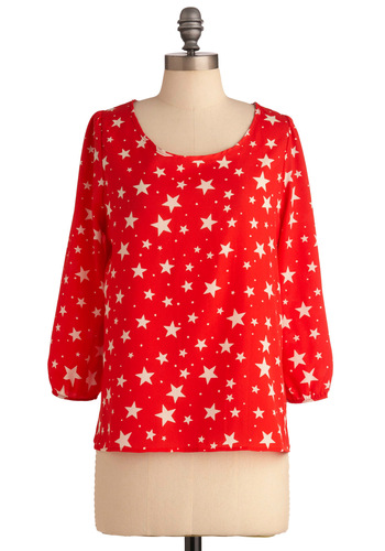 Off to a Great Star-t Top - Short, Casual, Red, White, Novelty Print, Buttons, 3/4 Sleeve