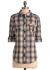 Wandering in Williamsburg Top in Navy and Cream - Buttons, Casual, 3/4 Sleeve, Blue, Tan / Cream, Plaid, Pockets, Menswear Inspired, Long Sleeve, Mid-length