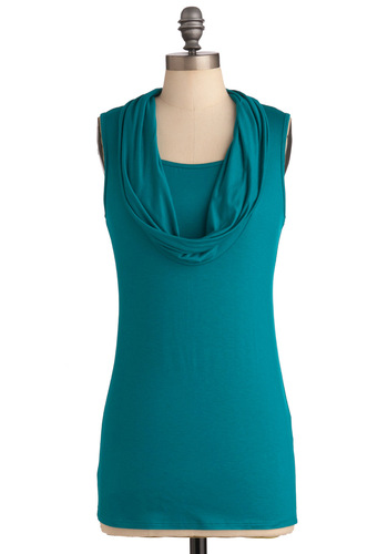 Cowl Dare You? Top - Blue, Solid, Sleeveless, Work, Long