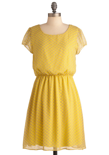 Learn to Butterfly Dress - Mid-length, Yellow, Print with Animals, Casual, Shift, Cap Sleeves