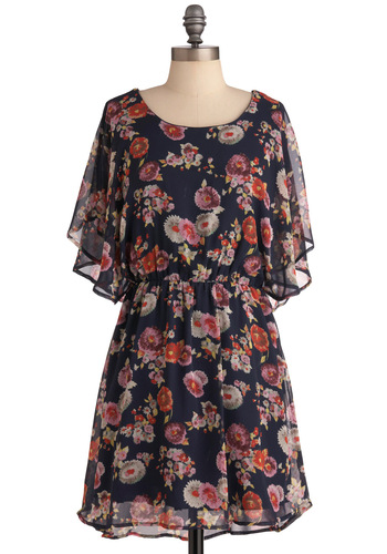 Keeping it Mum Dress - Mid-length, Casual, Blue, Floral, Ruffles, Short Sleeves, Multi, Red, Purple, White, Sheath / Shift