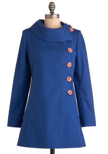 Mod for It Coat in Lake Blue - Vintage Inspired, 60s, Blue, Red, Solid, Buttons, Long Sleeve, Spring, 2.5, International Designer, Long