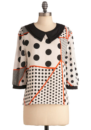 Lots of Options Top - Mid-length, White, Black, Polka Dots, Peter Pan Collar, Multi, Orange, Party, 3/4 Sleeve, Sheer, Collared, Mod