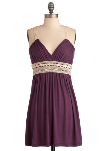 Plum Inspired Dress - Short, Purple, Tan / Cream, Solid, Shift, Tank top (2 thick straps), Crochet, Casual, Mini, Jersey