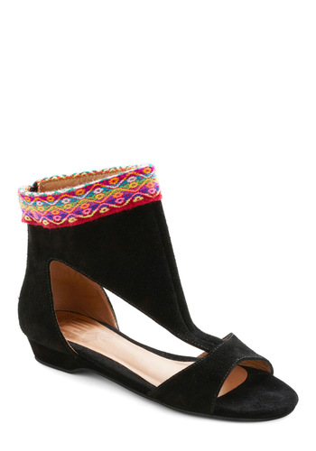 Clad in Cool Sandal - Black, Multi, Trim, Boho, Folk Art