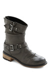 All A-Boot Style Boots in Grey - Casual, Black, Solid, Buckles, Fall, Steampunk, Faux Leather, Low