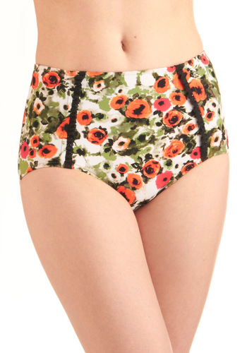 Hollywood Hills Swimsuit Bottom - Vintage Inspired, Multi, Orange, Green, Black, White, Floral, Summer, International Designer
