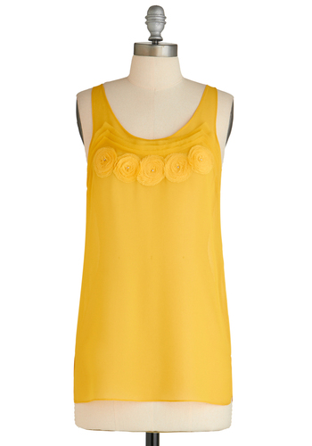 Sample 1613 - Yellow, Solid, Flower, Sleeveless
