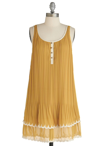 Sample 1614 - Yellow, Solid, Buttons, Casual, Mid-length, Tent / Trapeze, Tank top (2 thick straps), Pleats, Trim