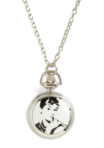 Fashionably Late Pocket Watch Necklace - White, Black, Silver, Chain, Special Occasion, Casual, Vintage Inspired, 50s, 60s, Steampunk