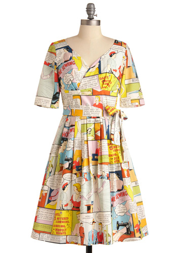 Sew It Like You Mean It Dress - Long, Multi, Casual, A-line, Pleats, Short Sleeves, Vintage Inspired, Multi, Wrap, Novelty Print, Variation