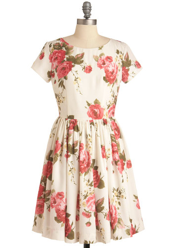 Beauty in the Air Dress in Light Carmine - Party, Vintage Inspired, Multi, Pink, White, Floral, A-line, Short Sleeves, Spring, Mid-length, Exclusives, Pastel, Cocktail, Daytime Party, Fit & Flare