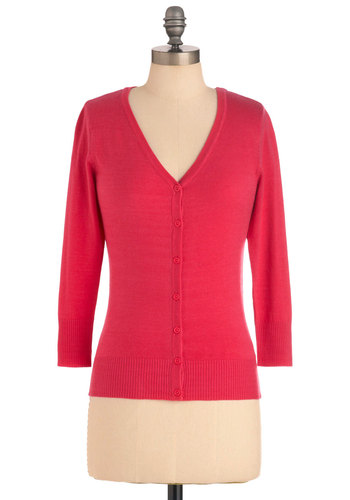 Charter School Cardigan in Raspberry - Mid-length, Pink, Solid, Buttons, Work, Vintage Inspired, 3/4 Sleeve