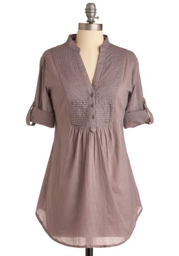 Back Road Ramble Tunic in Mauve - Purple, Solid, Buttons, Casual, 3/4 Sleeve, Short Sleeves, Long