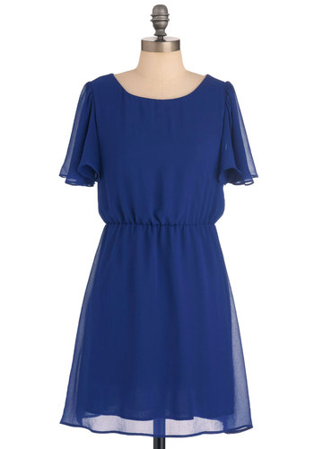 Cobalt Cabana Dress - Short, Blue, Solid, Ruffles, Sheath / Shift, Short Sleeves, Casual, Mini