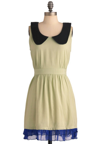 Sage of Reason Dress - Mid-length, Green, Blue, Black, Solid, Peter Pan Collar, Ruffles, Trim, Sheath / Shift, Sleeveless