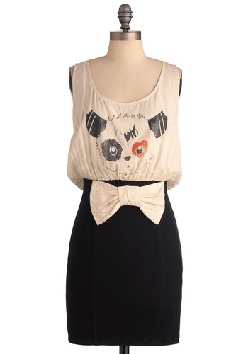 Panache Panda-mic Dress - Mid-length, Black, Bows, Twofer, Sleeveless, Casual, Tan / Cream