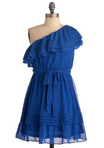 Dance Around the Rhumba Dress - Mid-length, Blue, Solid, Ruffles, Party, One Shoulder, A-line, Cutout