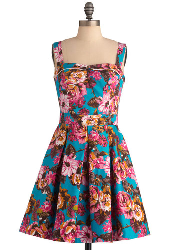 Special Arrangements Dress by Bettie Page - Mid-length, Multi, Blue, Floral, Casual, Vintage Inspired, Tank top (2 thick straps), Pleats, A-line, Orange, Pink, 50s, Spring, Pinup
