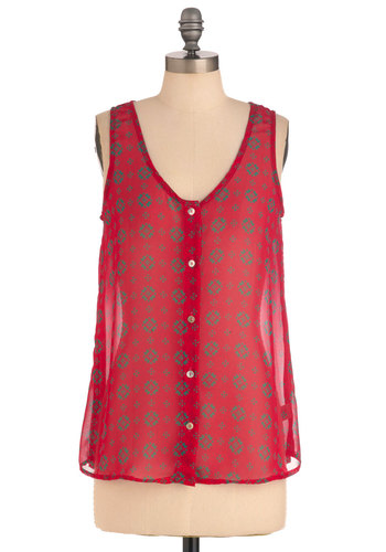 Tiles of the Isles Top - Pink, Green, Buttons, Casual, Sleeveless, Print, Mid-length, Scoop