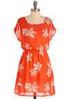 Yes You Maple Dress - Short, White, Casual, Short Sleeves, Print, Orange