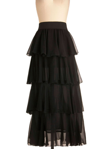 Grand Tier Skirt - Long, Black, Solid, Tiered, Special Occasion, Ruffles, Maxi