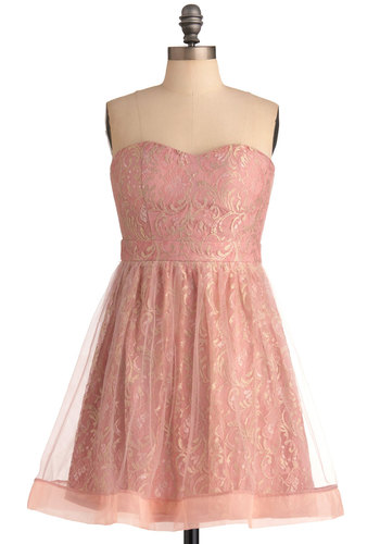 On the Aura Dress - Pink, Solid, Lace, Strapless, Prom, Tan / Cream, A-line, Ballerina / Tutu, Mini, Mid-length