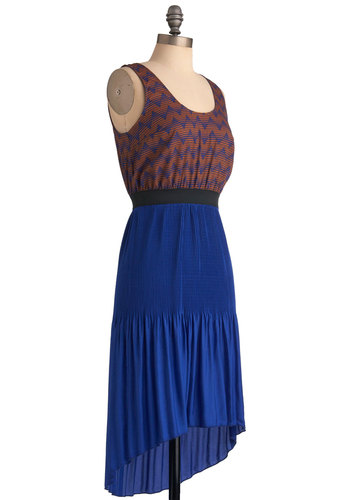 One With the Wind Dress in Rust - Mid-length, Blue, Cutout, Casual, Tank top (2 thick straps), Print, Twofer, Orange