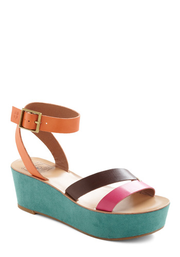 Uptown Fun Wedge by Lucky - Orange, Green, Pink, Brown, Party, Wedge