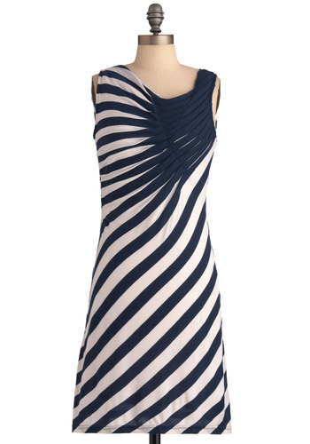 Spread the Style Dress in Navy - White, Stripes, Casual, Sleeveless, Sheath / Shift, Blue, Mid-length