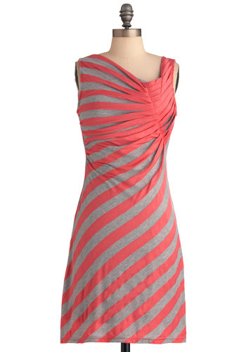 Spread the Style Dress in Coral - Mid-length, Grey, Stripes, Casual, Sleeveless, Shift, Pink, Coral