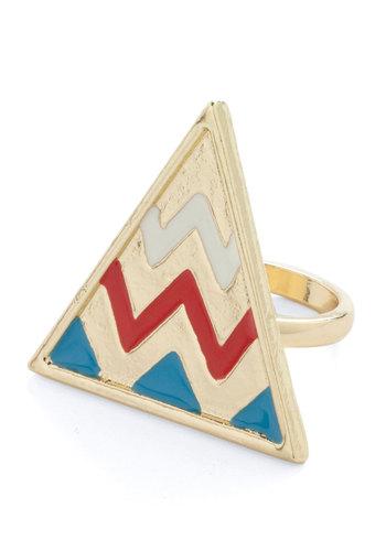 Tri Again Ring - Casual, Gold, Red, Blue, Folk Art