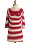 Pier Nor There Top in Crimson - White, Stripes, Casual, Nautical, 3/4 Sleeve, Red, Long