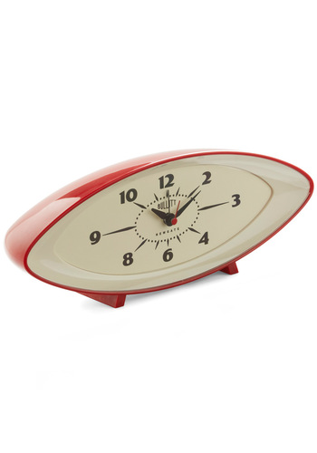Second Wind Clock - Red, Tan / Cream, Vintage Inspired, Dorm Decor