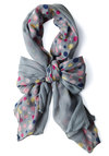Pastel Planets Scarf - Grey, Polka Dots, Yellow, Blue, Pink